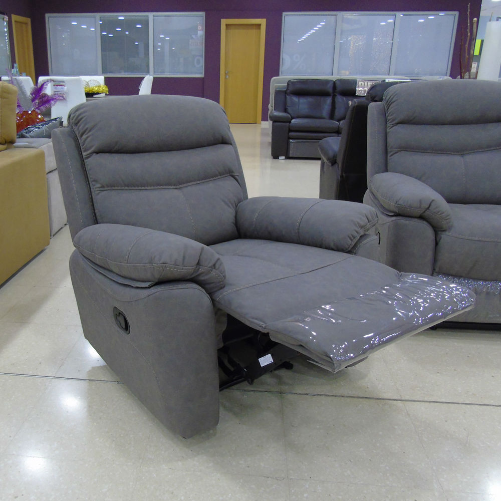 El hogar del descanso 86 sillon relax manual tela gris e for Sillon relax de tela