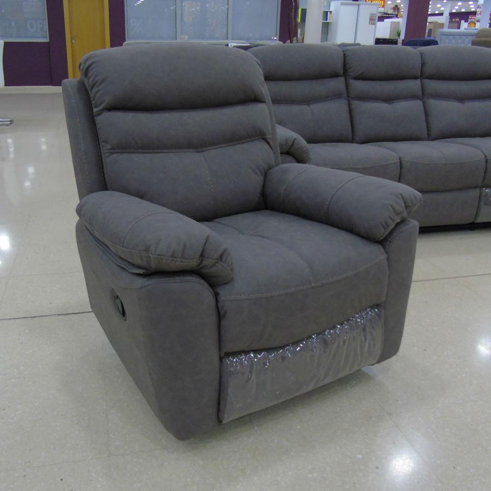 El hogar del descanso 86 sillon relax manual tela gris i for Sillon relax de tela